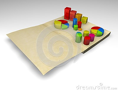 Financial report with charts 3d render
