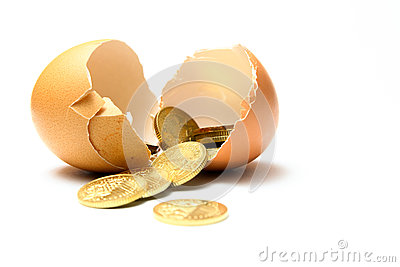 Financial security - Cracked egg with coins