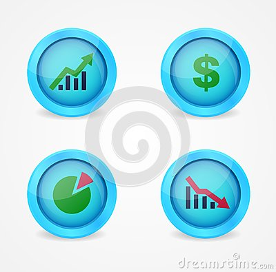 Financial signs on glossy icons