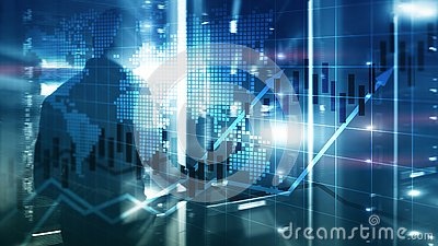 Financial Stock Market Graphs Candle Chart ROI Return On Investment Business Concept Stock Photo