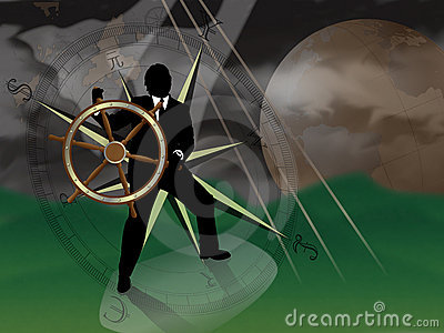 Representative of turmoil in world currencies.  Businessman/banker/broker at sea trying to navigate a storm with international currencies compass and world globe in background. : Dreamstime
