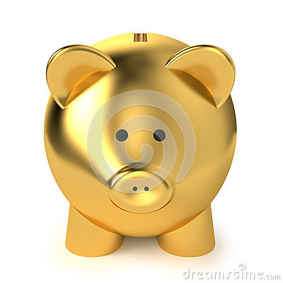 Porcellino salvadanaio dorato