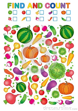 Free Find And Count. Printable Worksheet For Kindergarten And Preschool. Exercises For Study Numbers. Bright Vegetable Harvest Chili Pe Stock Photo - 124319220