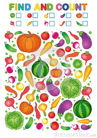 Free Find And Count. Printable Worksheet For Kindergarten And Preschool. Exercises For Study Numbers. Bright Vegetable Harvest Chili Pe Royalty Free Stock Image - 124319226