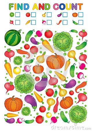 Free Find And Count. Printable Worksheet For Kindergarten And Preschool. Exercises For Study Numbers. Bright Vegetable Harvest Chili Pe Stock Photo - 124319230