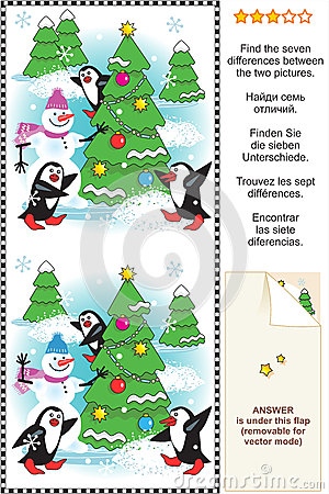 Find the differences Christmas or New Year puzzle