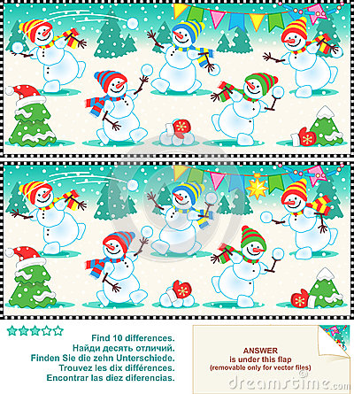 Christmas or New Year visual puzzle: Find the ten differences between the two pictures - playful happy snowmen at a christmas party. Answer included.