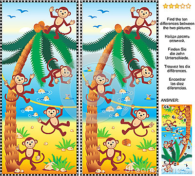 Find the differences picture puzzle - monkeys, beach, coconut palm