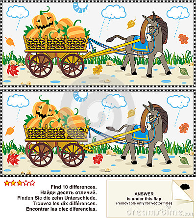 Find the differences visual puzzle - burro pulling