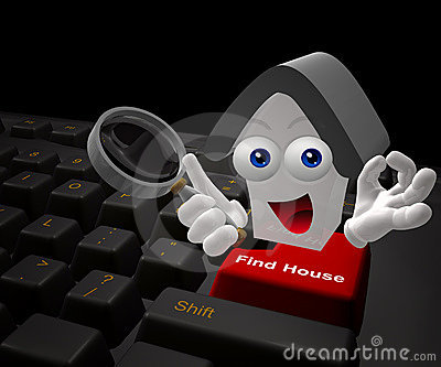 Find house on the internet icon symbol