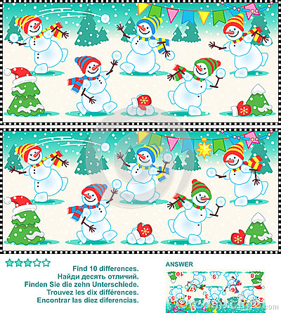 Free Find The Differences Picture Puzzle - Playful Snowmen Royalty Free Stock Image - 51954666