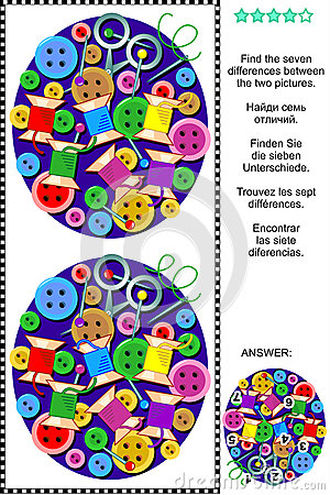 Free Find The Differences Picture Puzzle - Sewing Items Stock Image - 50993671