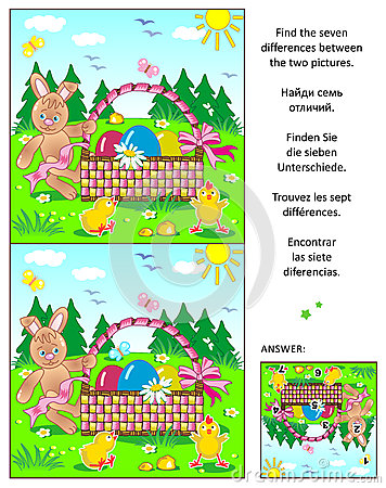 Free Find The Differences Picture Puzzle With Easter Bunny, Eggs, Chicks And Basket Royalty Free Stock Photography - 90037687