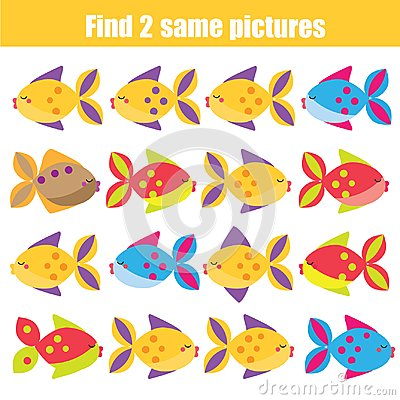 Free Find The Same Pictures Children Educational Game. Animals Theme Stock Photo - 113048420