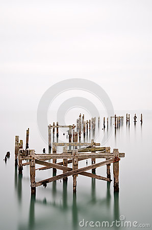 Free Fine Art Landscape Image Of Derelict Pier In Milky Long Exposure Royalty Free Stock Photo - 35845905