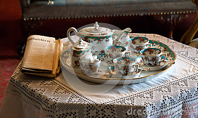 Fine China tea set and paper