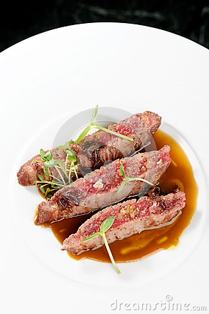 Fine Dining, Angus Beef Steak Fillets With Roasted Tomato ...
