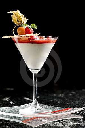 Fine dining dessert cocktail with fruit toppings