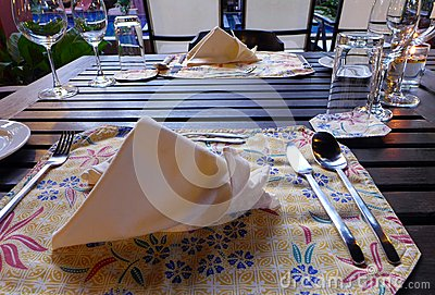 Fine dining Elegant table setting, ethnic batik