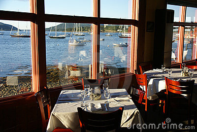 Fine Dining With Harbor View Stock Images Image 3222984