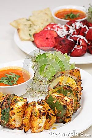 Fine dining meal, chicken shish kebab
