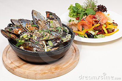Fine dining meal, new zealand mussels and salmon