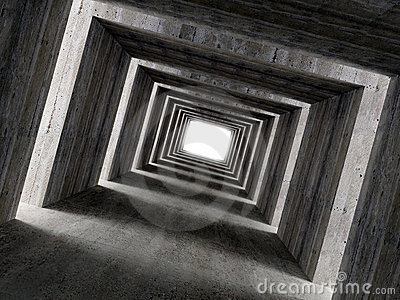 Fine image 3d of concrete tunnel and lateral light