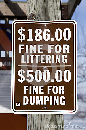 Fine for littering and dumping