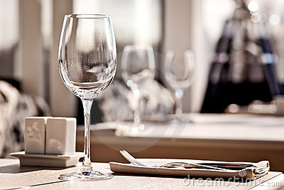 Fine restaurant dinner table place setting
