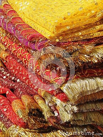 Fine silk brocade saree fabric