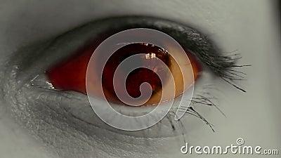 Fine spaventosa dell'occhio di orrore su stock footage