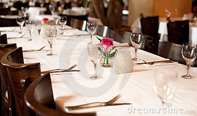 Fine table setting in gourmet restaurant