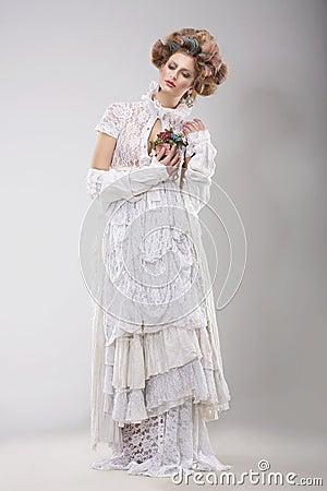 Free Finery. Glamorous Lady In Elegant Lacy Dress Stock Photos - 42028223