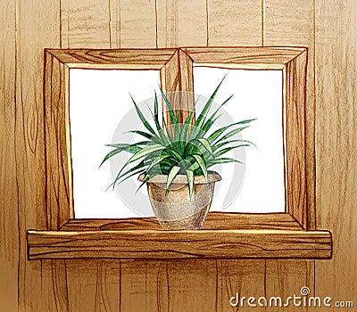 Finestra con i vasi da fiori illustrazione di stock immagine 39050019 - Fiori da finestra ...