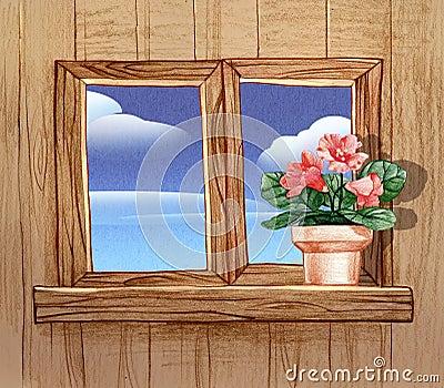 Finestra con i vasi da fiori illustrazione di stock immagine 39050024 - Fiori da finestra ...