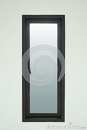 finestra di alluminio nera moderna con la parete bianca