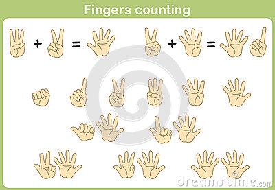 Finger Counting For Adding And Subtracting Stock Vector - Image ...
