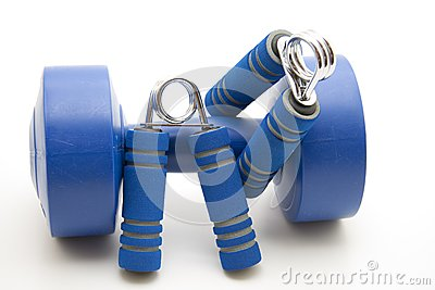 Finger dumbbells with blue grip