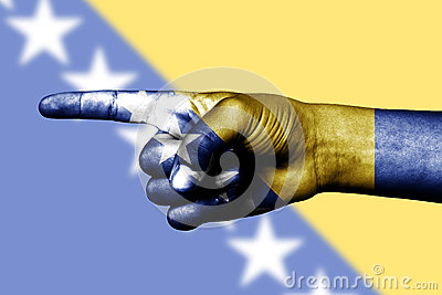 Finger pointing in Bosnia Herzegovina flag