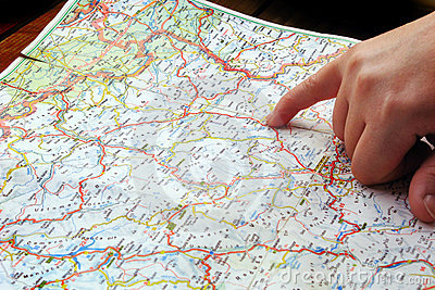 Finger pointing navigation travel map