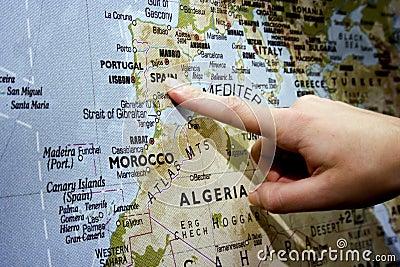 Finger pointing Spain