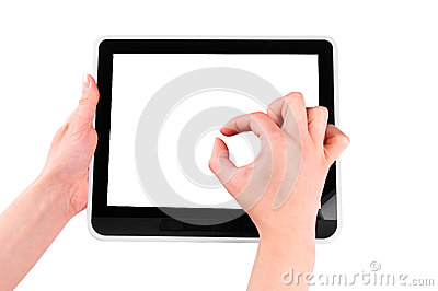 Finger pointing at tablet PC