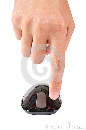 Free Finger Points To Left Button Of Touch Computer Mouse Isolated Stock Image - 40313261