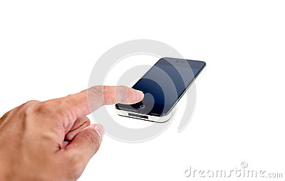 Finger in press mobile phone on isolate