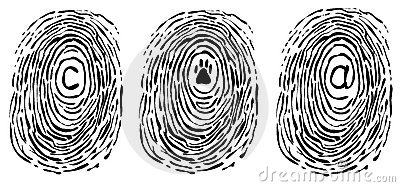 Finger print with symbols