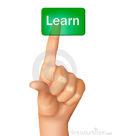 A finger pushing learn button. Vector