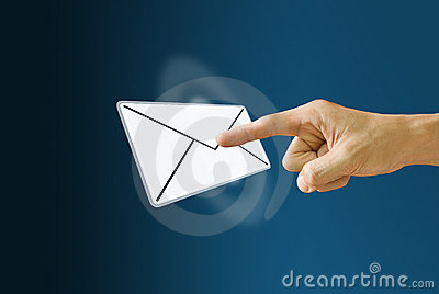 Finger pushing the mail icon
