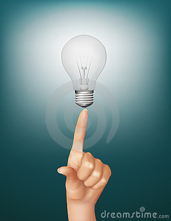 Finger touching brightly lit light bulb.