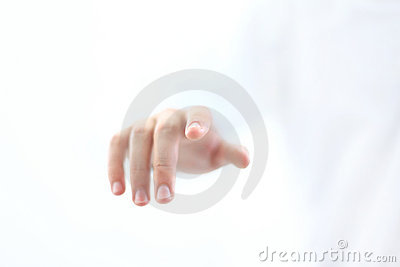 Finger touching button