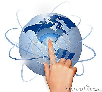 Finger touching globe